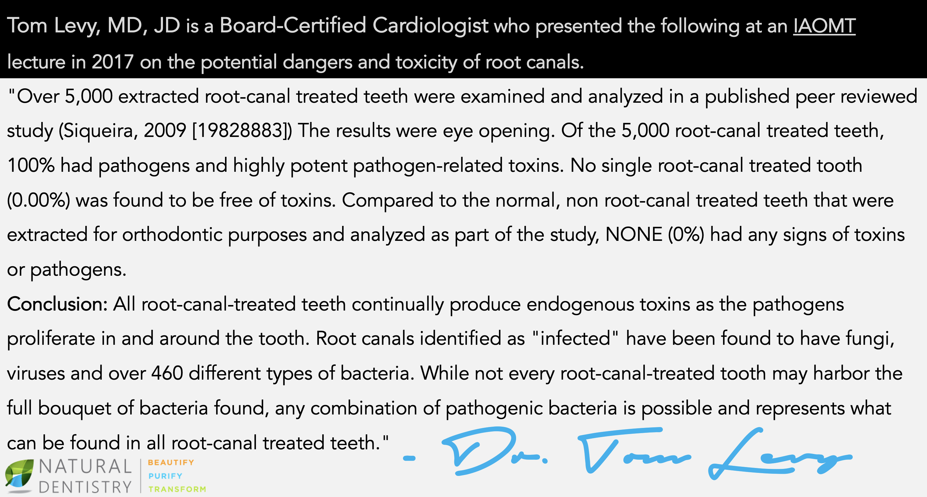 Root Canal Dangers Dr. Tom Levy Biological Dentist CT NY NJ RI Natural Dentistry
